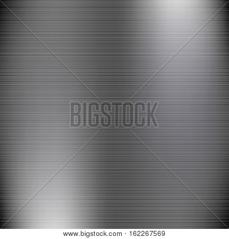 Dark grey brushed metal industrial background.