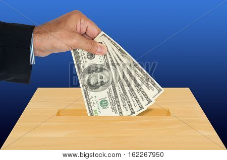 Wood Crate With Money (usa One Hundred Dollar Banknotes). Blue Background.