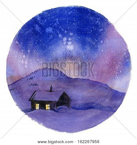 Winter cottage in night hand drawn with watercolor