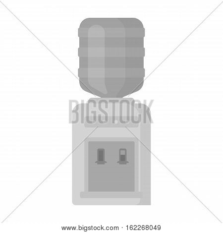 Office water cooler icon in monochrome style isolated on white background. Office furniture and interior symbol vector illustration.