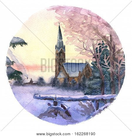 Morning winter landscape with chirch hand-drawn with watercolor