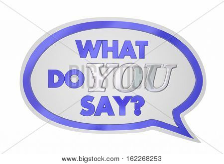 What Do You Say Speech Bubble Opinion Vote 3d Illustration