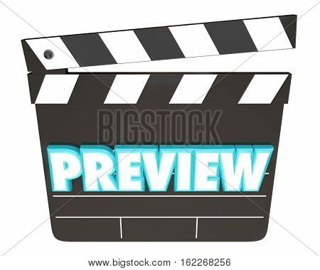 Preview Movie Film Coming Soon Clapper Board 3d Illustration