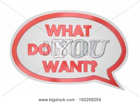What Do You Want Speech Bubble Request Desire 3d Illustration