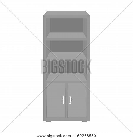Office bookcase icon in monochrome style isolated on white background. Office furniture and interior symbol vector illustration.