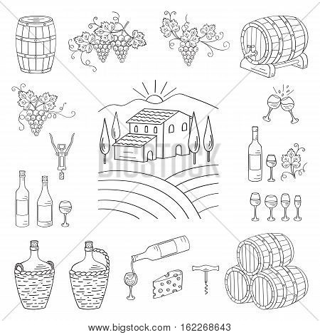 Wine and wine making set vector illustrations hand drawn doodle, vineyard , bottles, glasses, grapes, barrels, cellar. Wine design elements.