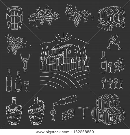 Wine and wine making set vector illustrations hand drawn doodle, vineyard , bottles, glasses, grapes, barrels, cellar. Wine design elements on chalkboard.