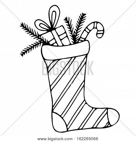 Christmas stocking with candy and gift. Mono color black line art element for adult coloring book page design.