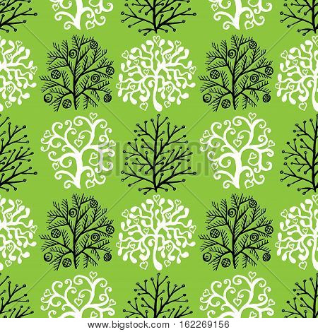 Seamless pattern with cute abstract decorative trees