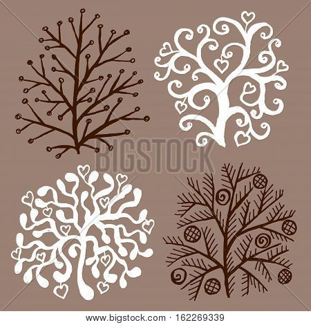 Set of decorative trees on red background