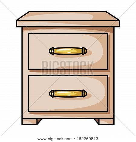 Bedside table icon in cartoon style isolated on white background. Furniture and home interior symbol vector illustration.