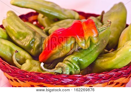 Spicy Peppers, Red And Green