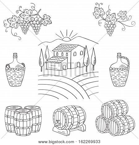 Vineyard farm village landscape vector illustration hand drawn doodle. Wine and wine making set grapes, barrels, cellar isolated. Wine design elements on white.