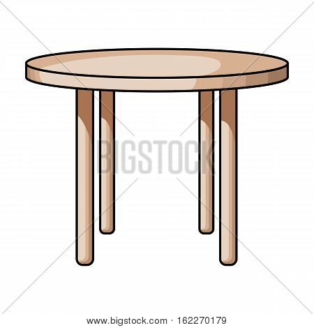 Wooden round table icon in cartoon style isolated on white background. Furniture and home symbol stock vector illustration.