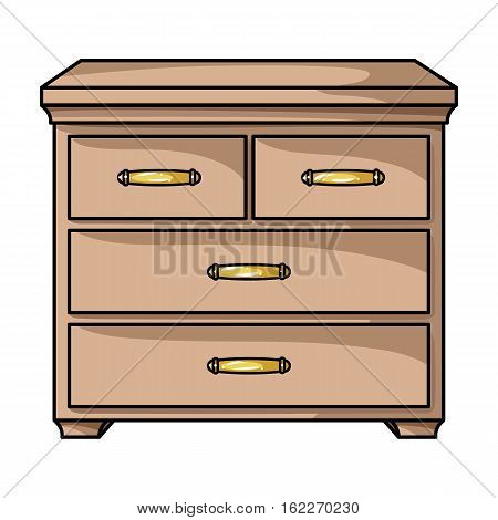 Wooden cabinet with drawers icon in cartoon style isolated on white background. Furniture and home interior symbol vector illustration.