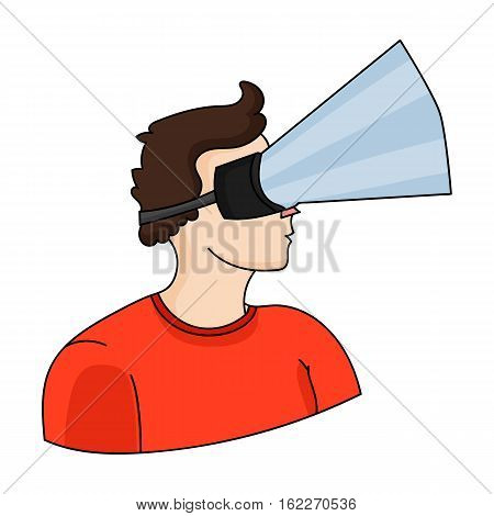 Player with virtual reality headcartoon icon in cartoon style isolated on white background. Virtual reality symbol vector illustration.