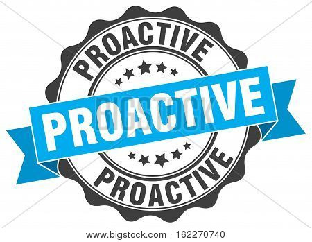 proactive. stamp. sign. seal. round. retro. ribbon