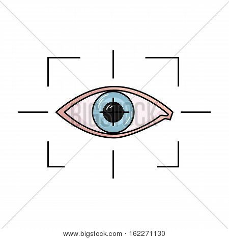Focus of eye in the virtual reality icon in cartoon style isolated on white background. Virtual reality symbol vector illustration.