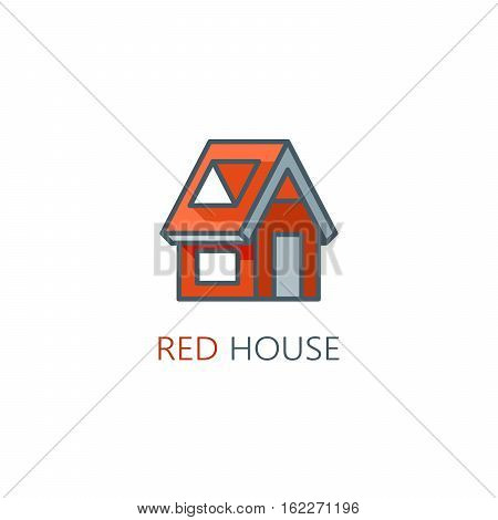Lone blue house in city. House logo. Vector illustration
