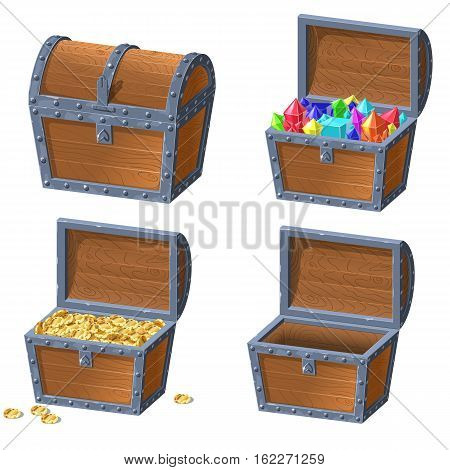 Wooden Chest set for game interface.Vector illustration. treasure of gold coins on white background closed, chest with jewels