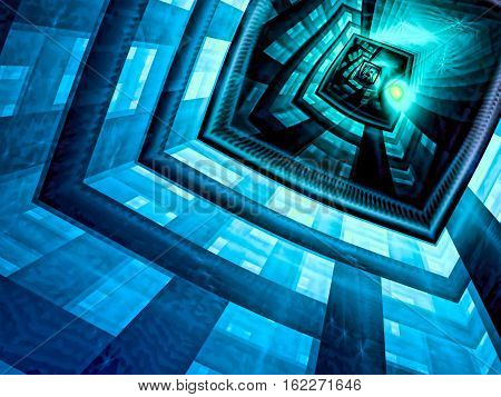 Mystery blue background - abstract computer-generated image. Fractal art: futuristic well, portal or entrance. Technology or esoteric backdrop