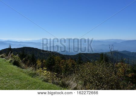 View from Clingmans Dome at Great Smoky Mountains National Park in Tennessee