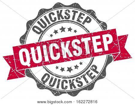 quickstep. stamp. sign. seal. round. retro. ribbon