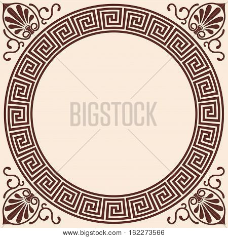Vector Greek style background. Circular frame. Brown pattern on a beige background.