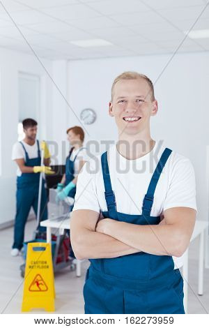 Happy Cleaning Staff