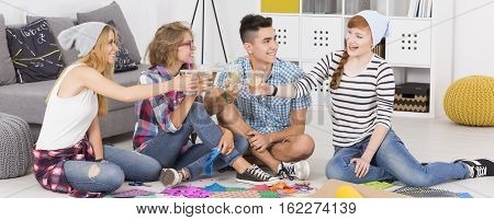Young People Proposing A Toast