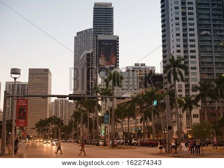 MIAMI, FL - Dec 17, 2016: Bayside Marketplace at night in Miami, Florida. It is a festival marketplace and the top entertainment complex in Downtown Miami attracting 15 million people annually.