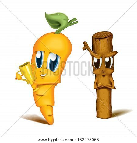 Cartoon Character Carrot and Stick Metaphor Motivation Winner Looser Competition