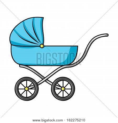 Pram icon in cartoon style isolated on white background. Baby born symbol vector illustration.