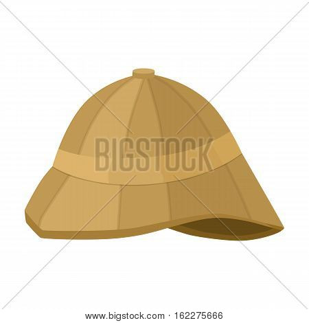 Pith helmet icon in cartoon style isolated on white background. England country symbol vector illustration.