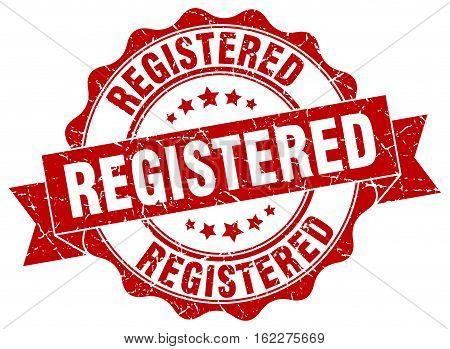 registered. stamp. sign. seal. round. retro. ribbon