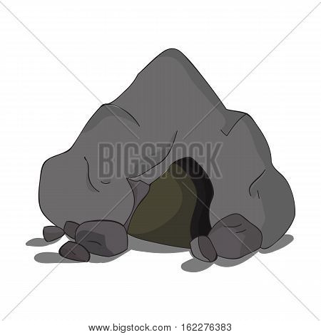 Cave icon in cartoon style isolated on white background. Stone age symbol vector illustration.