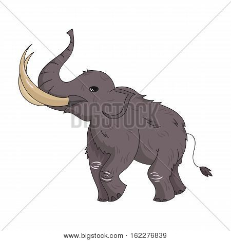 Woolly mammoth icon in cartoon style isolated on white background. Stone age symbol vector illustration.
