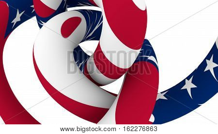 Spiral knot textured by USA flag. 3D rendering