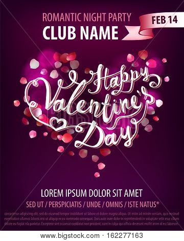 Happy Valentine's Day party vector flyer template