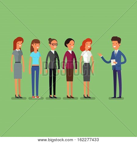 Business man choosing person for hiring. Job and staff, human and recruitment, select people, resource and recruit. Flat illustration