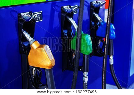 Fuel nozzle in the gas station in thailand.