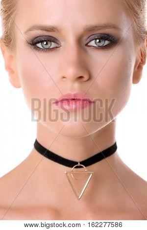 Beautiful woman with trendy choker, closeup