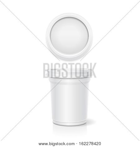 Vector blank white packaging closed container for yogurt, ice cream or dessert, top and side view