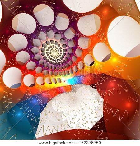 Fractal background with abstract spiral bubble shapes. High detailed.