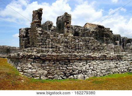 Ruins of a Mayan temple at the archaeological site of Tulum in the state of Quintana Roo,Mexico.
