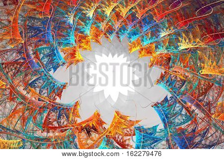 Fractal background with abstract shapes. Motion structure.