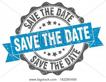 save the date. stamp. sign. seal. round. retro. ribbon