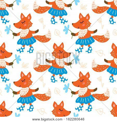 Seamless pattern with cute fox with flower