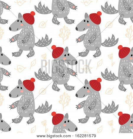 Winter vector seamless pattern with cute wolves