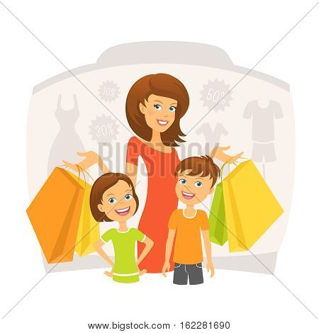 Happy woman with children on shopping. Editable vector illustration